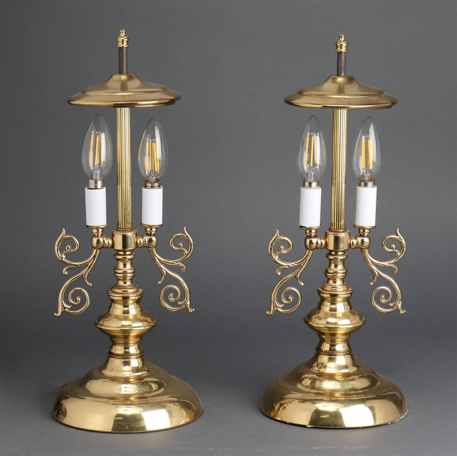 Brass Federal Style Two-Light Table Lamps, 2