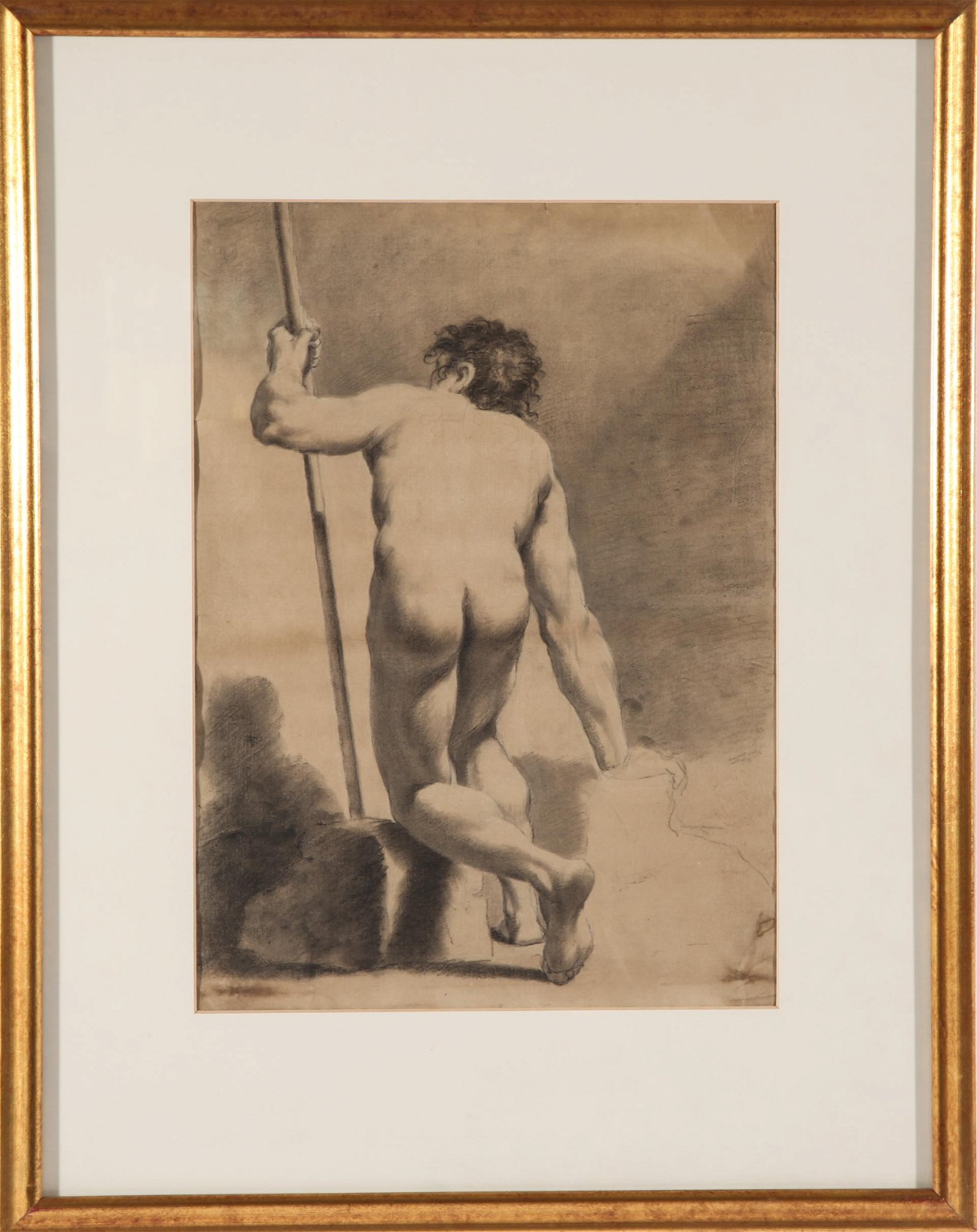 """""""Male Nude with Staff"""" Pencil Study on Paper"""