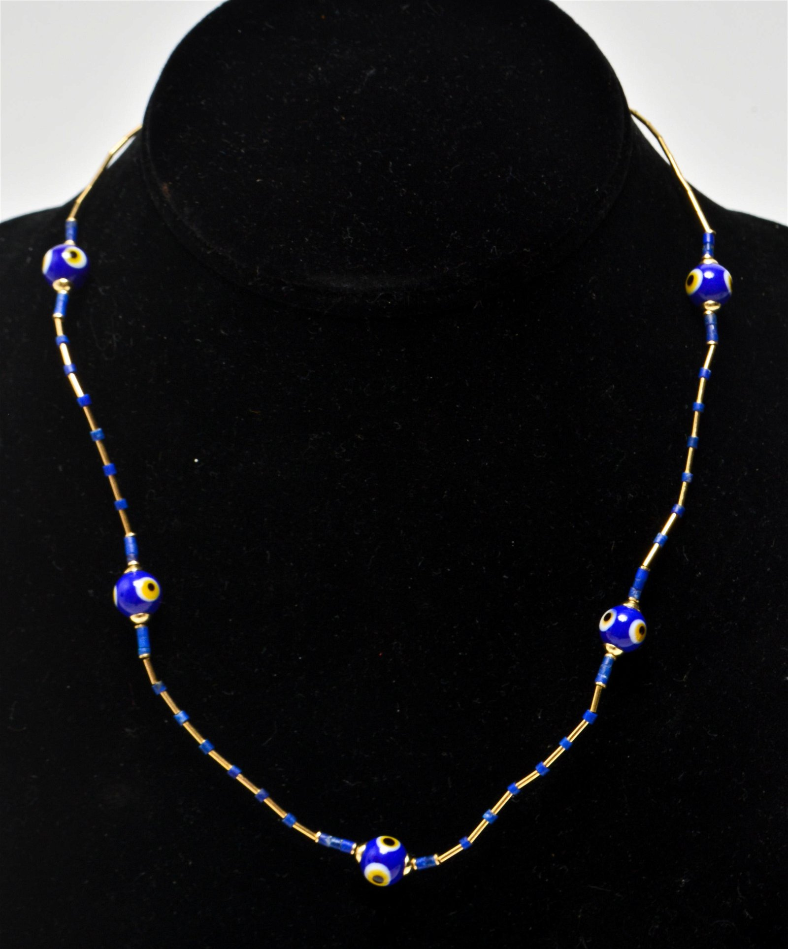 14K Yellow Gold w Glass Evil Eye Beads Necklace