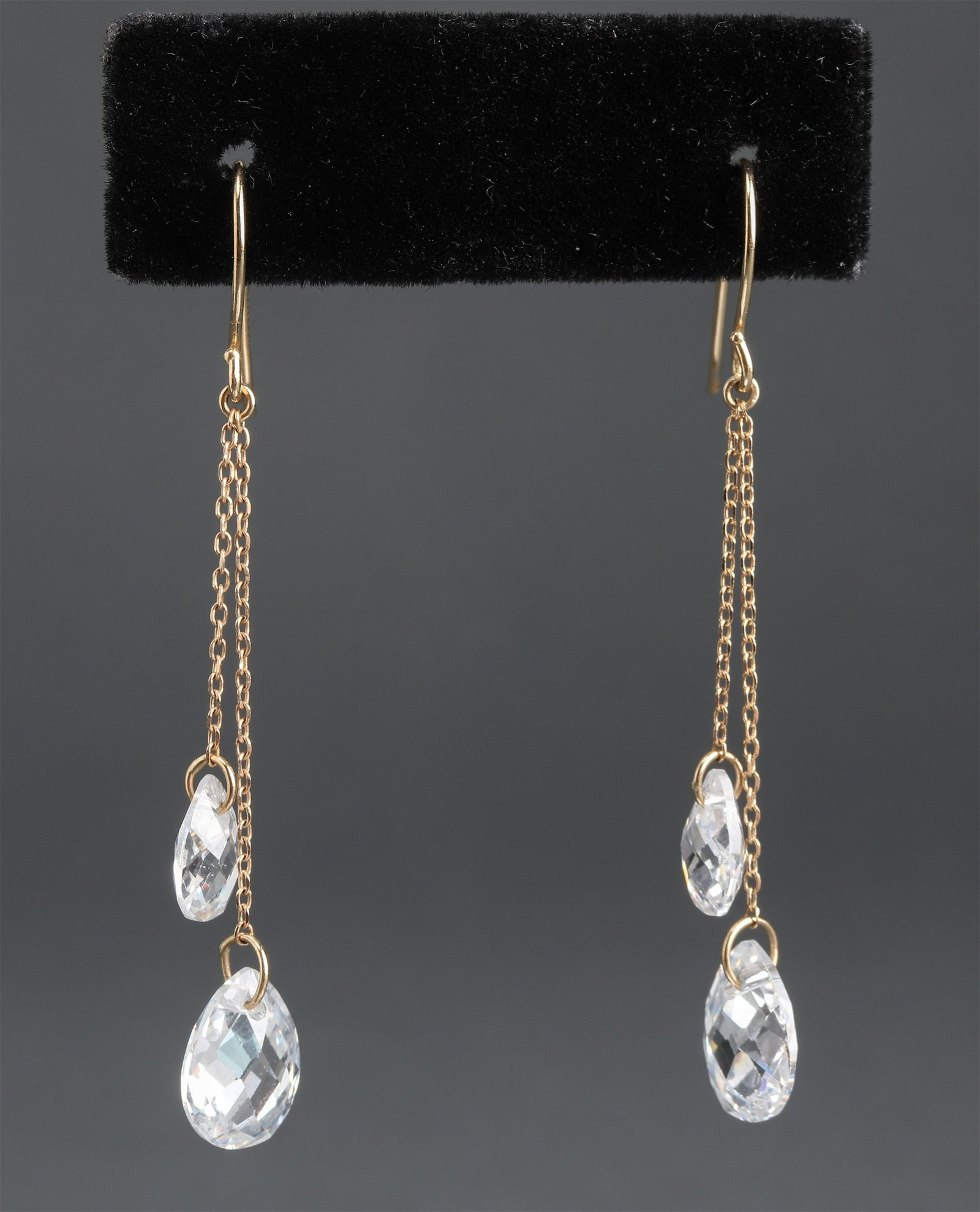Diamonique 14K Yellow Gold & CZ Drop Earrings