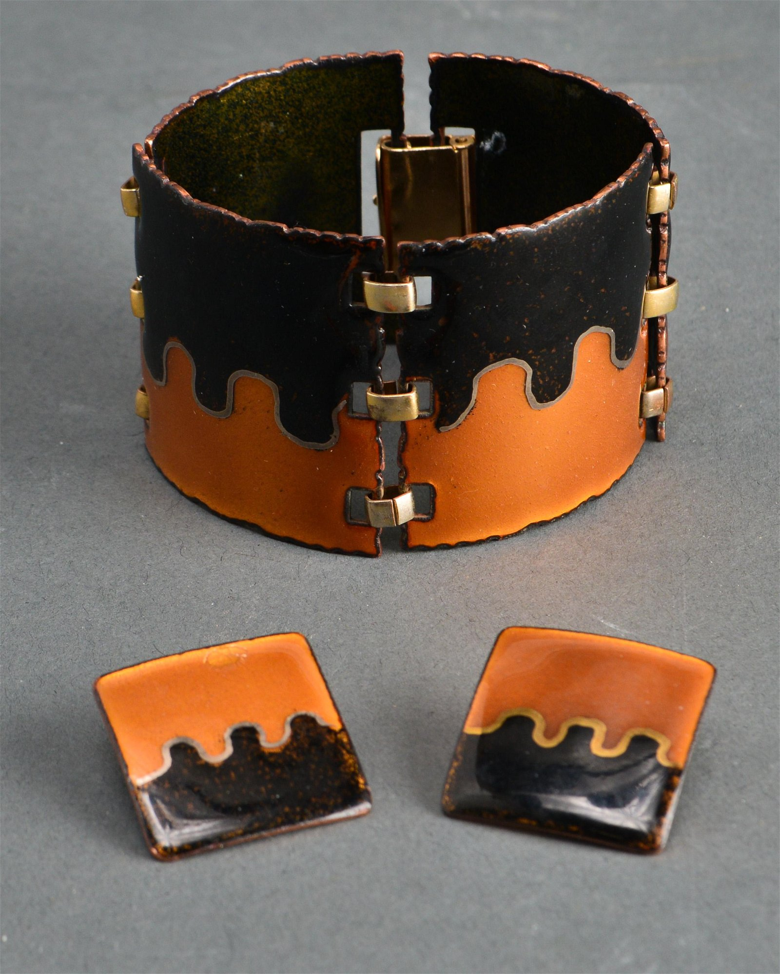 Modern Enamel on Copper Bracelet & Earrings
