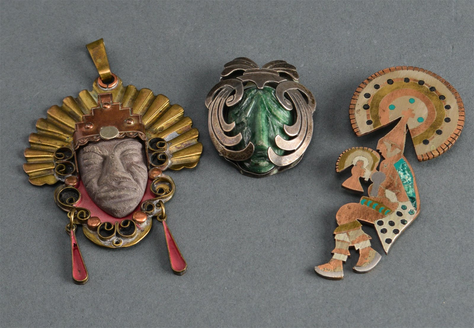 Mexican Brooches incl. Silver, Hardstone, etc. 3