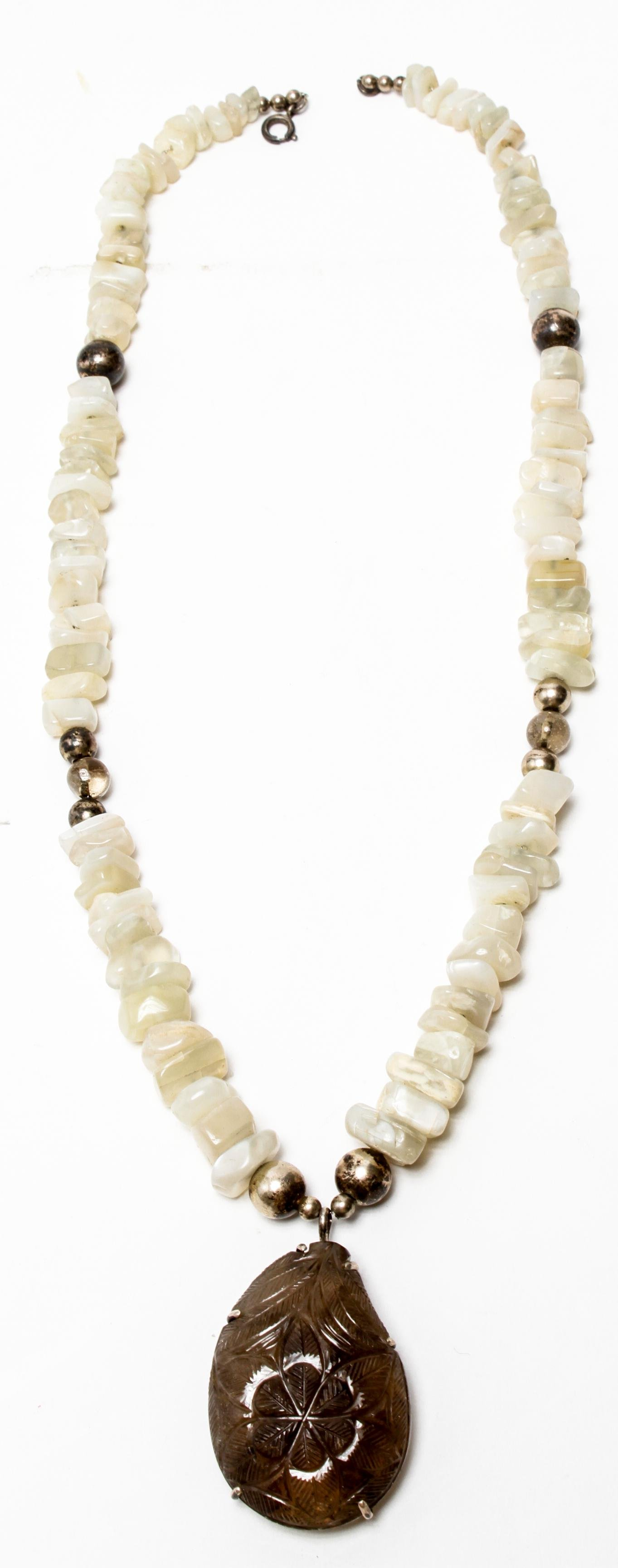Sterling Silver Smoky Topaz & Quartz Necklace