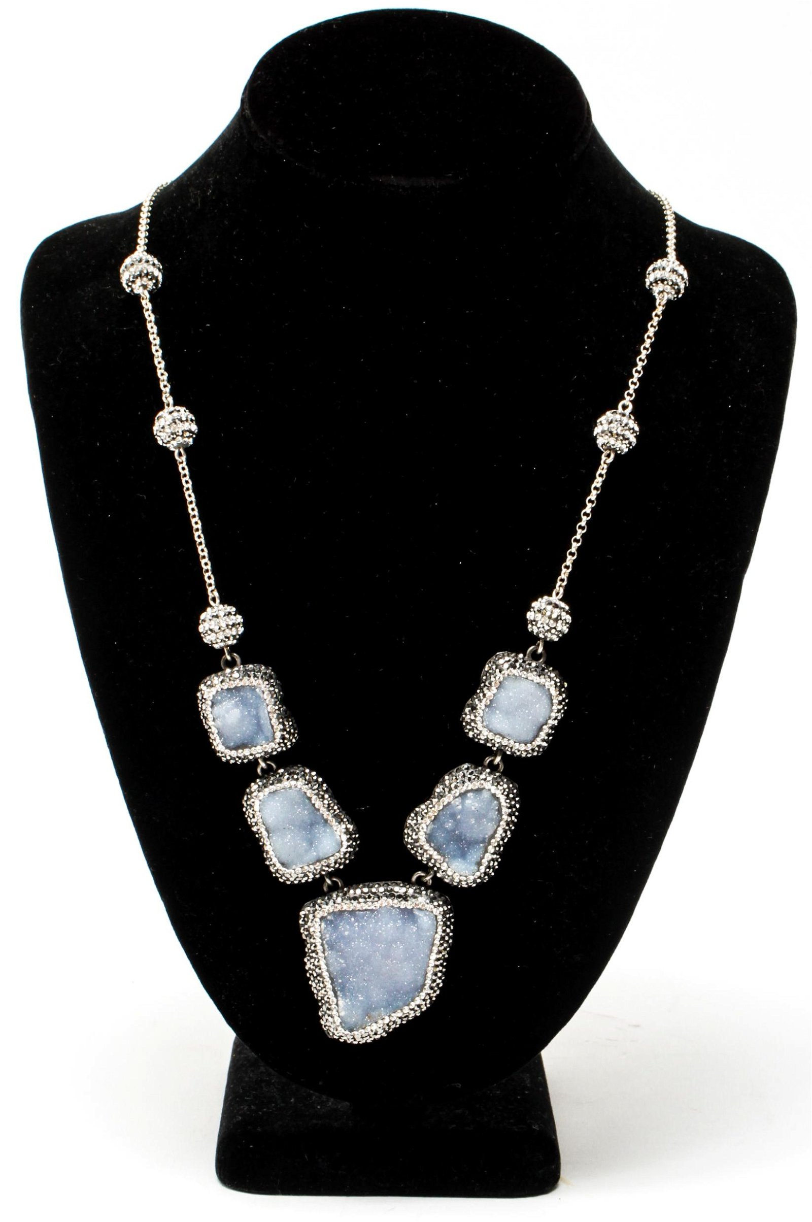 Silver Chalcedony Geode & Rhinestone Necklace