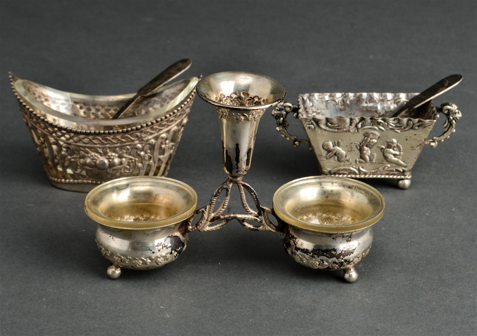 Continental Silver Salts & 2 Spoons, Group of 5