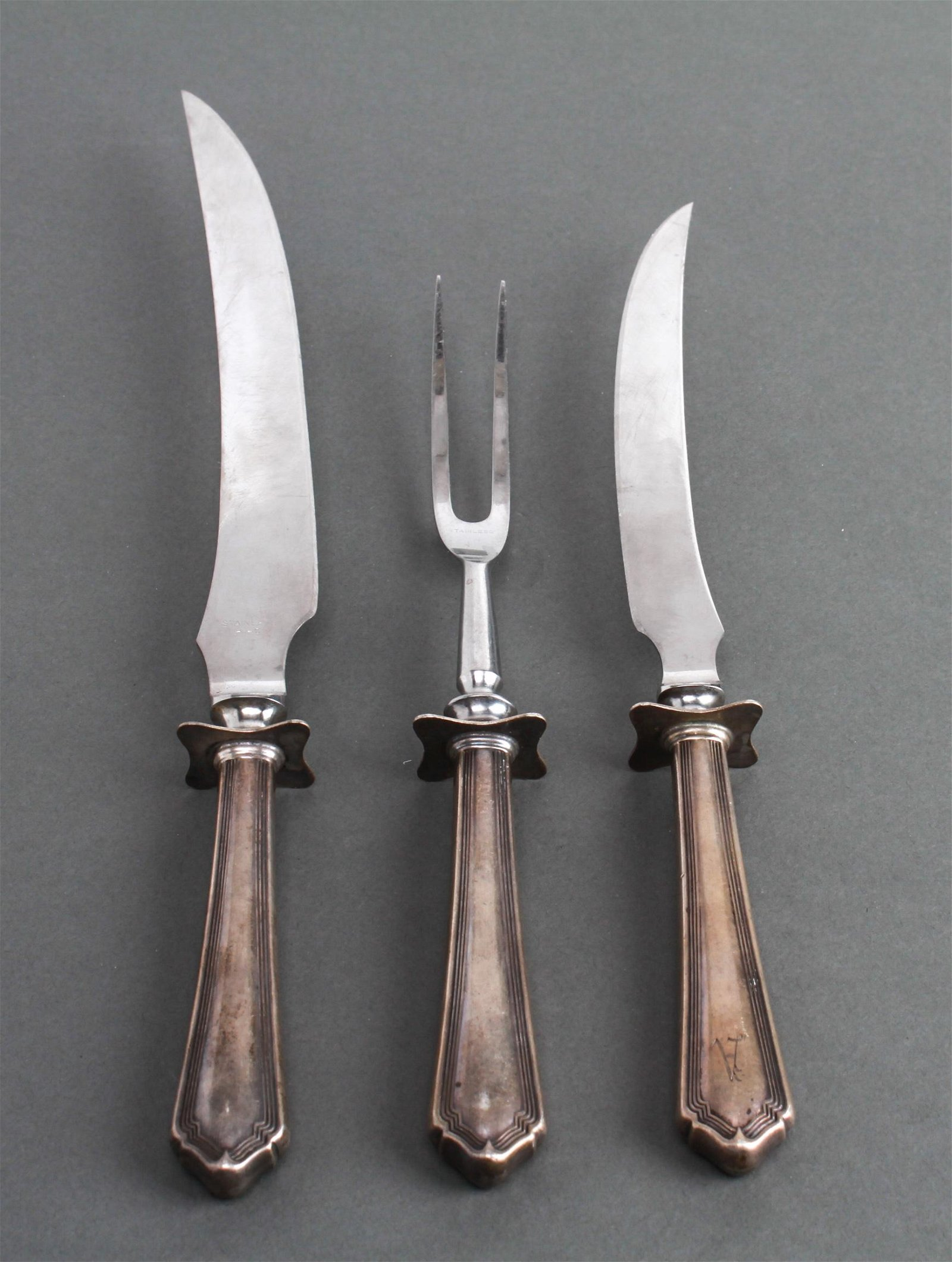 English Sterling Silver Carving Set, Group of 3