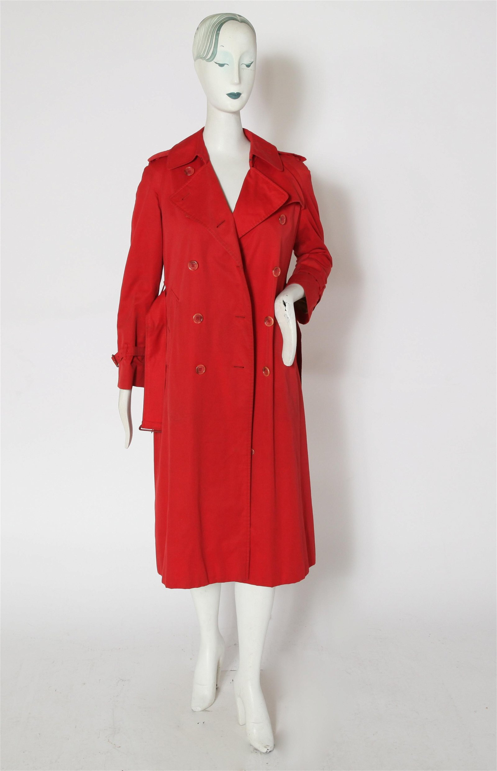 Burberry Red Double Breasted Trench Coat