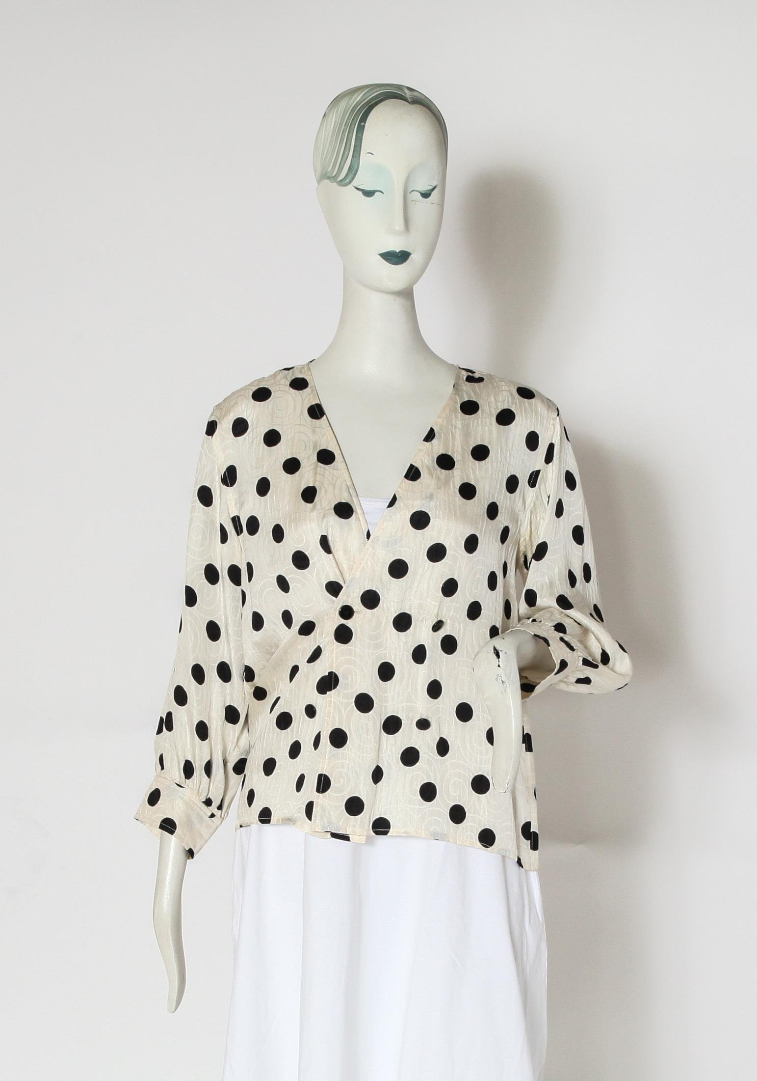 Yves Saint Laurent Variation Silk Polka Dot Blouse