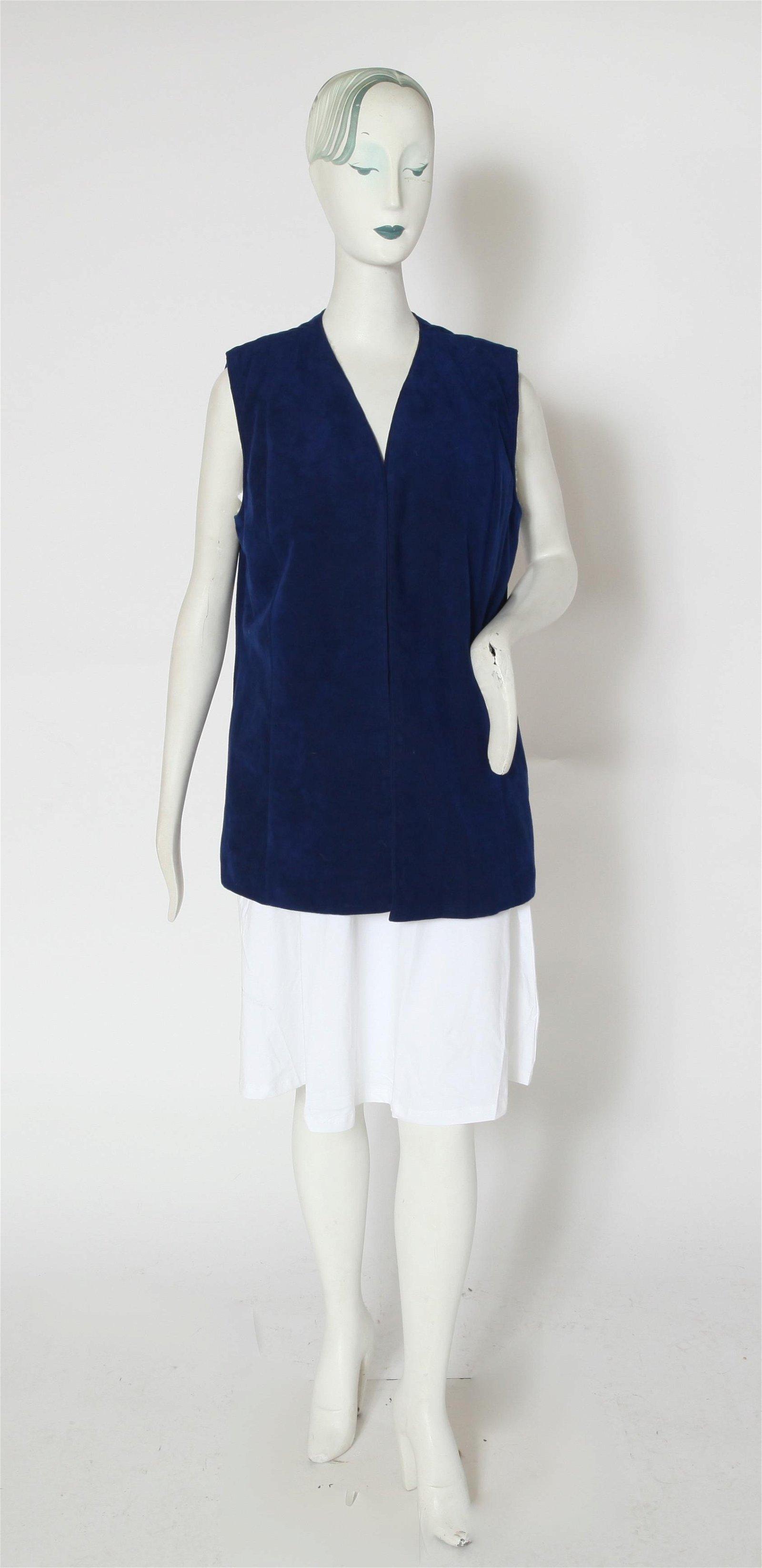Blue Felt & Rabbit Fur Vest
