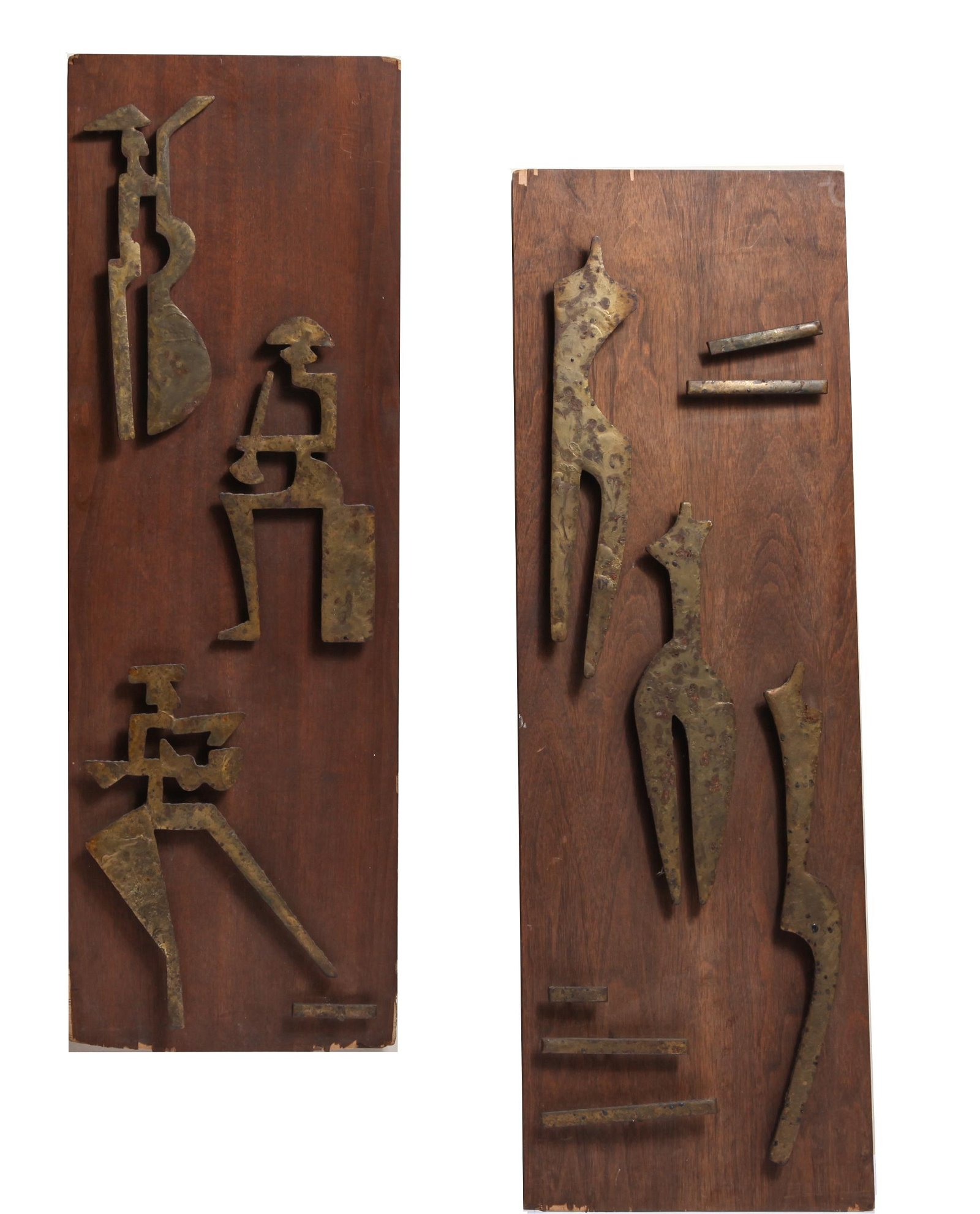 Abstract Figural Brass And Oak Panels, Pair