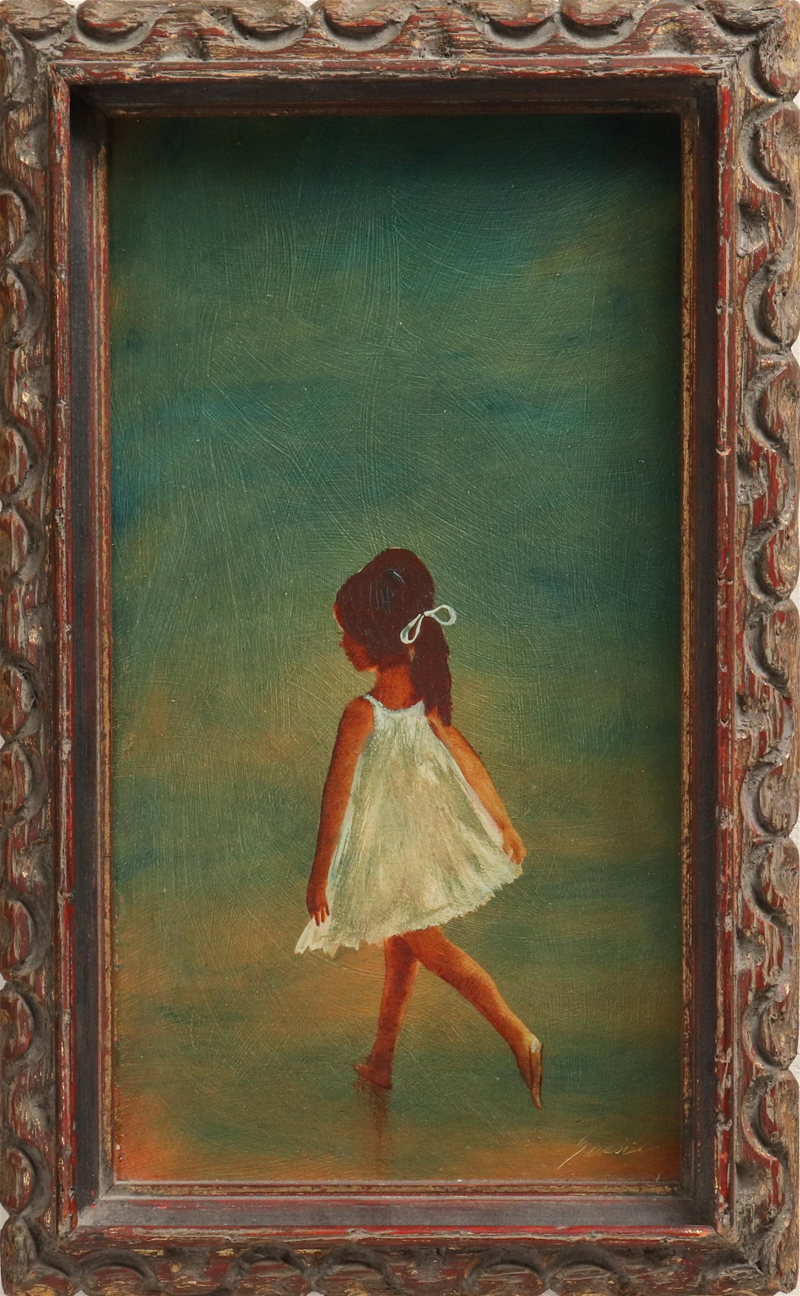 """Alfred Sussi """"Young Girl"""" Oil on Board"""