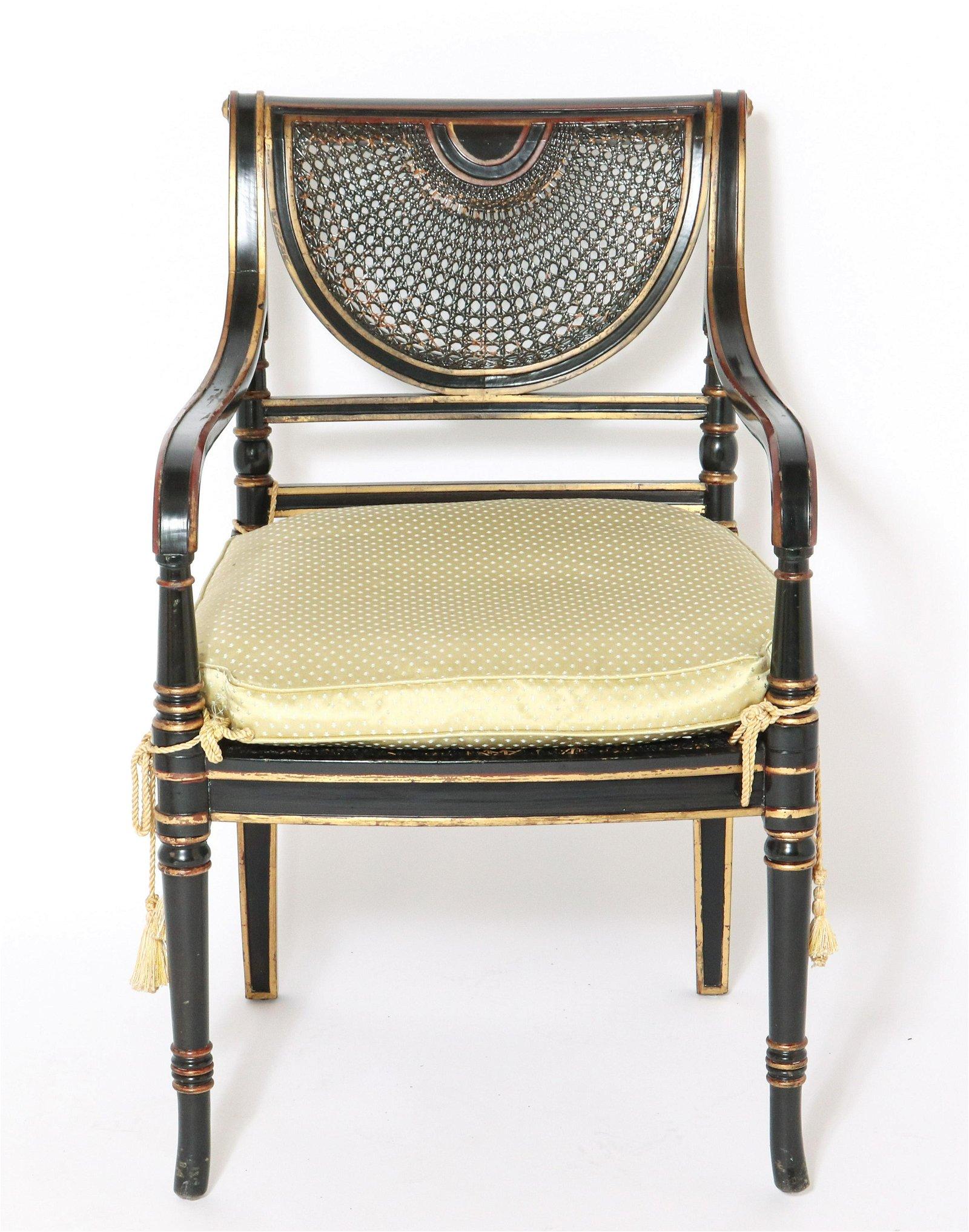 Regency Style Ebonized Caned Back Armchair