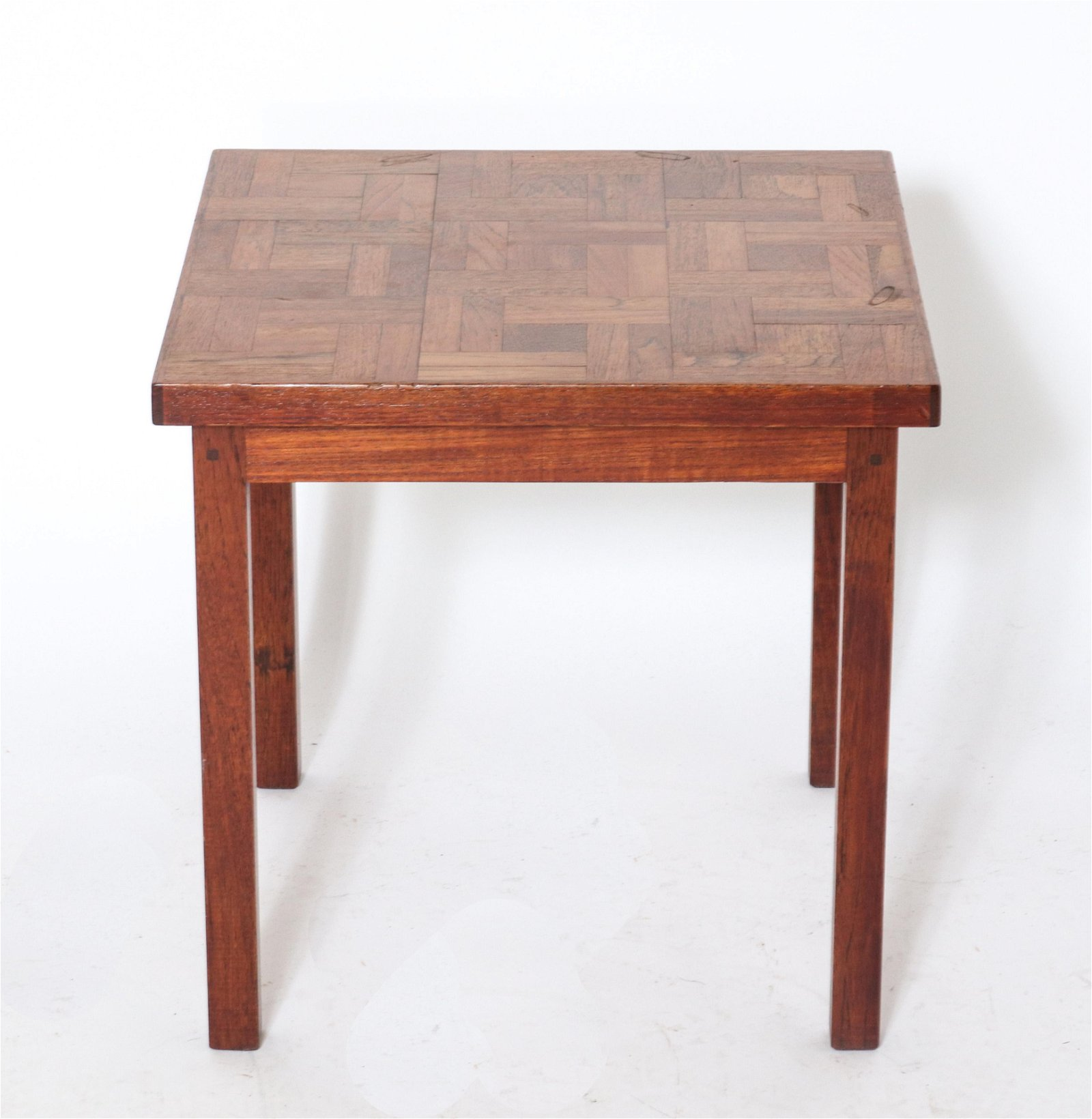 Signed Hand-Crafted Parquetry Side Table