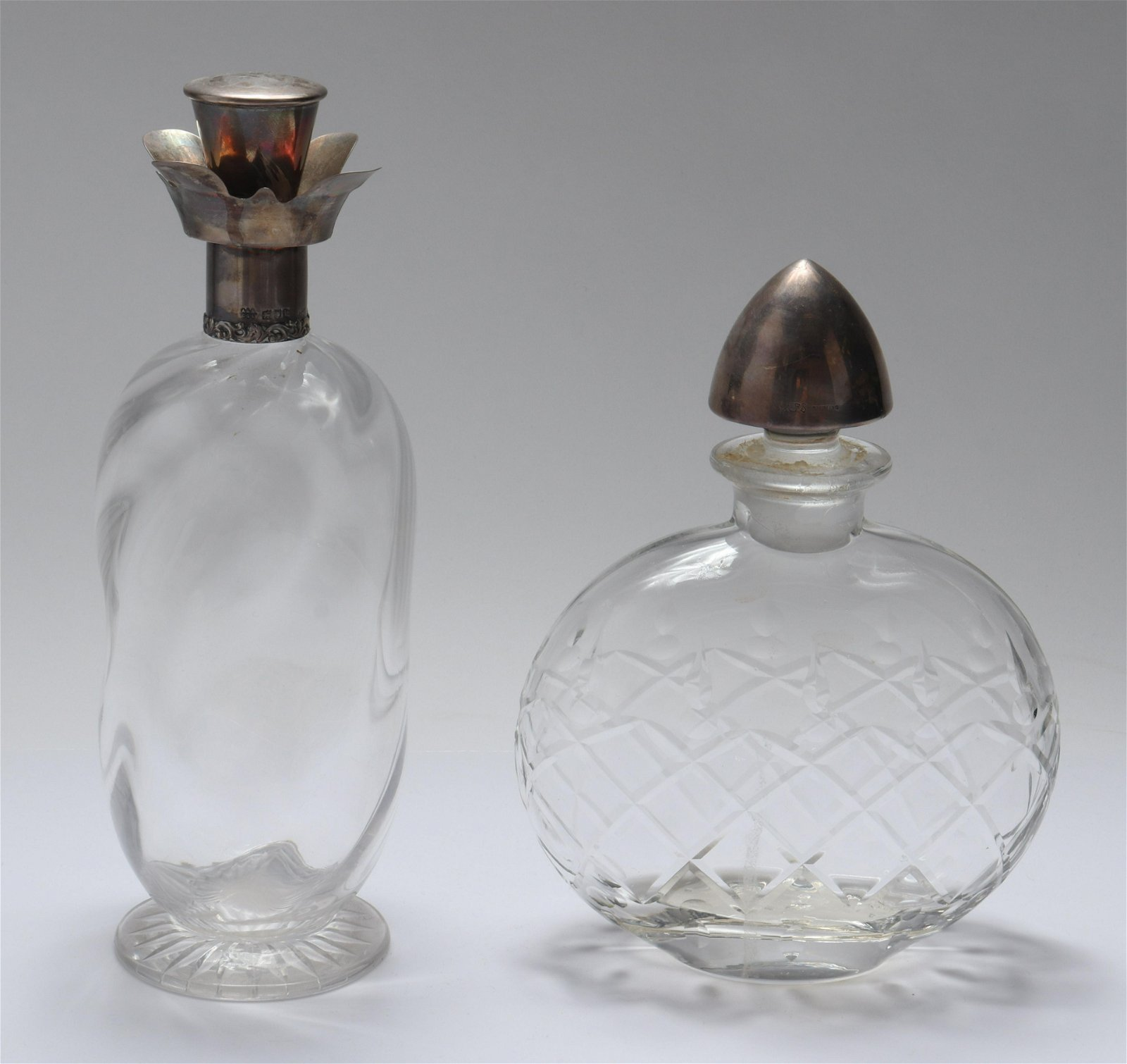 English & American Sterling and Glass Decanters, 2