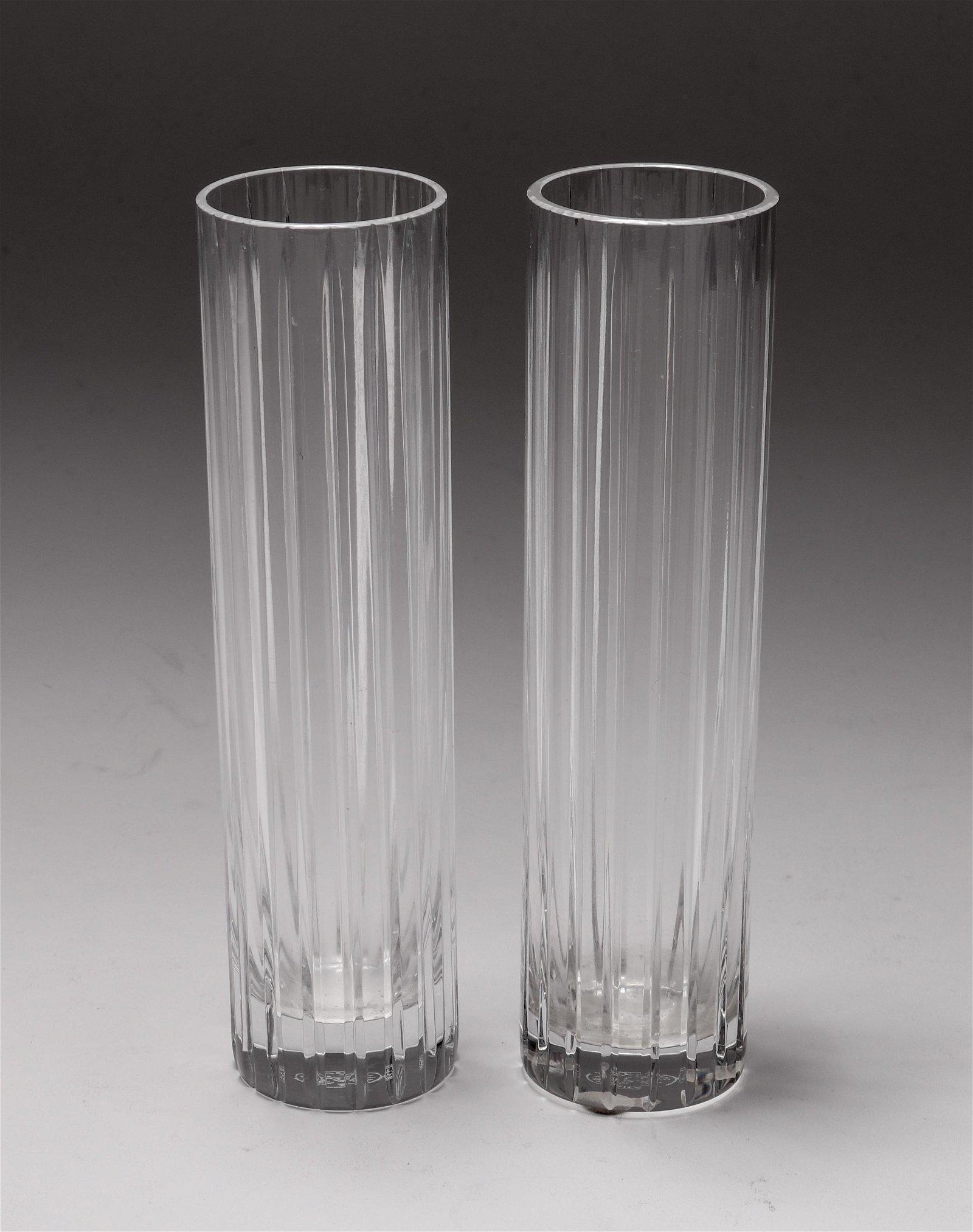 """Baccarat Crystal """"Harmonie"""" Bud Vases, Pair"""