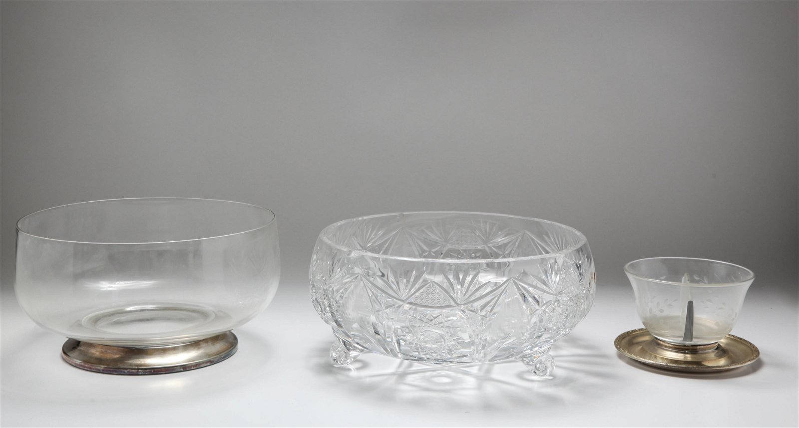 Cut Glass Bowls, One with Sterling, 3