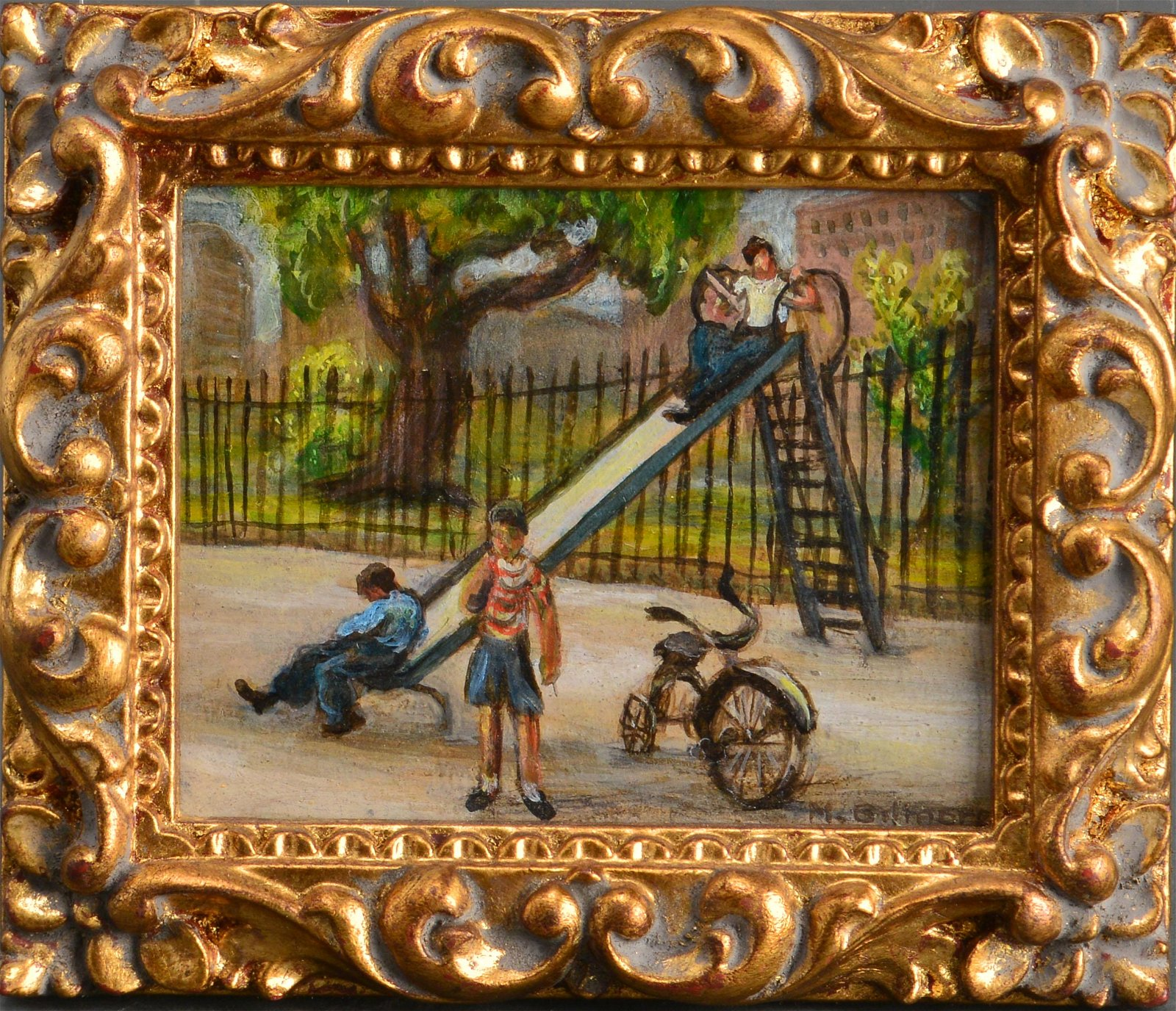 "Marion Gilmore ""Children at Playground"" Oil"