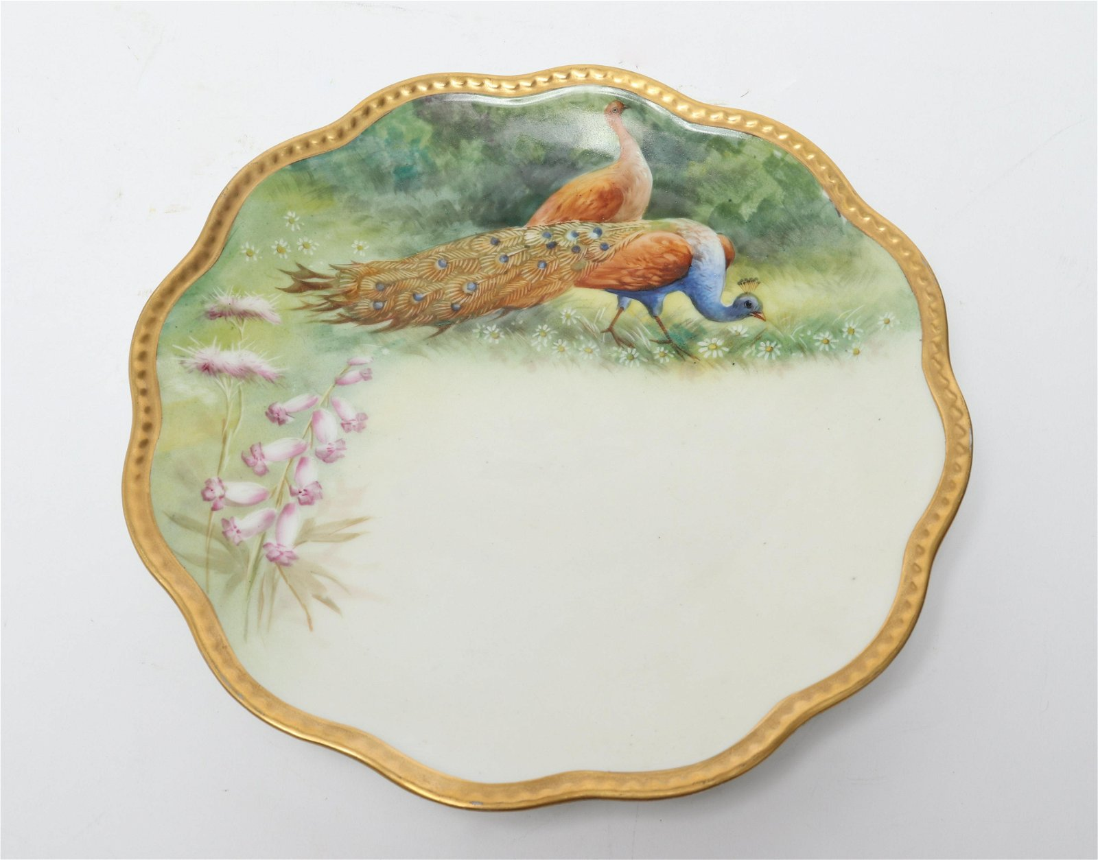 Limoges France Hand-Painted Plate with Peacock