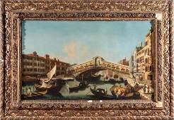 Antique Venetian Canal Scene Oil on Canvas