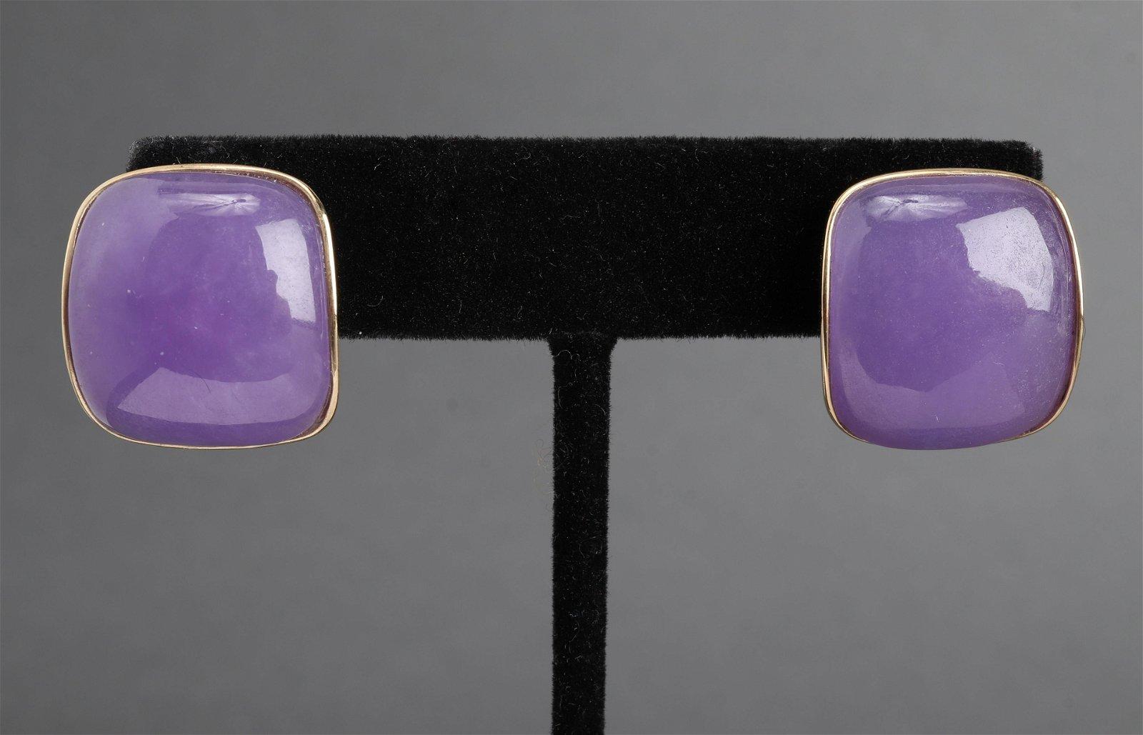Vintage 14K Yellow Purple Jade Earrings