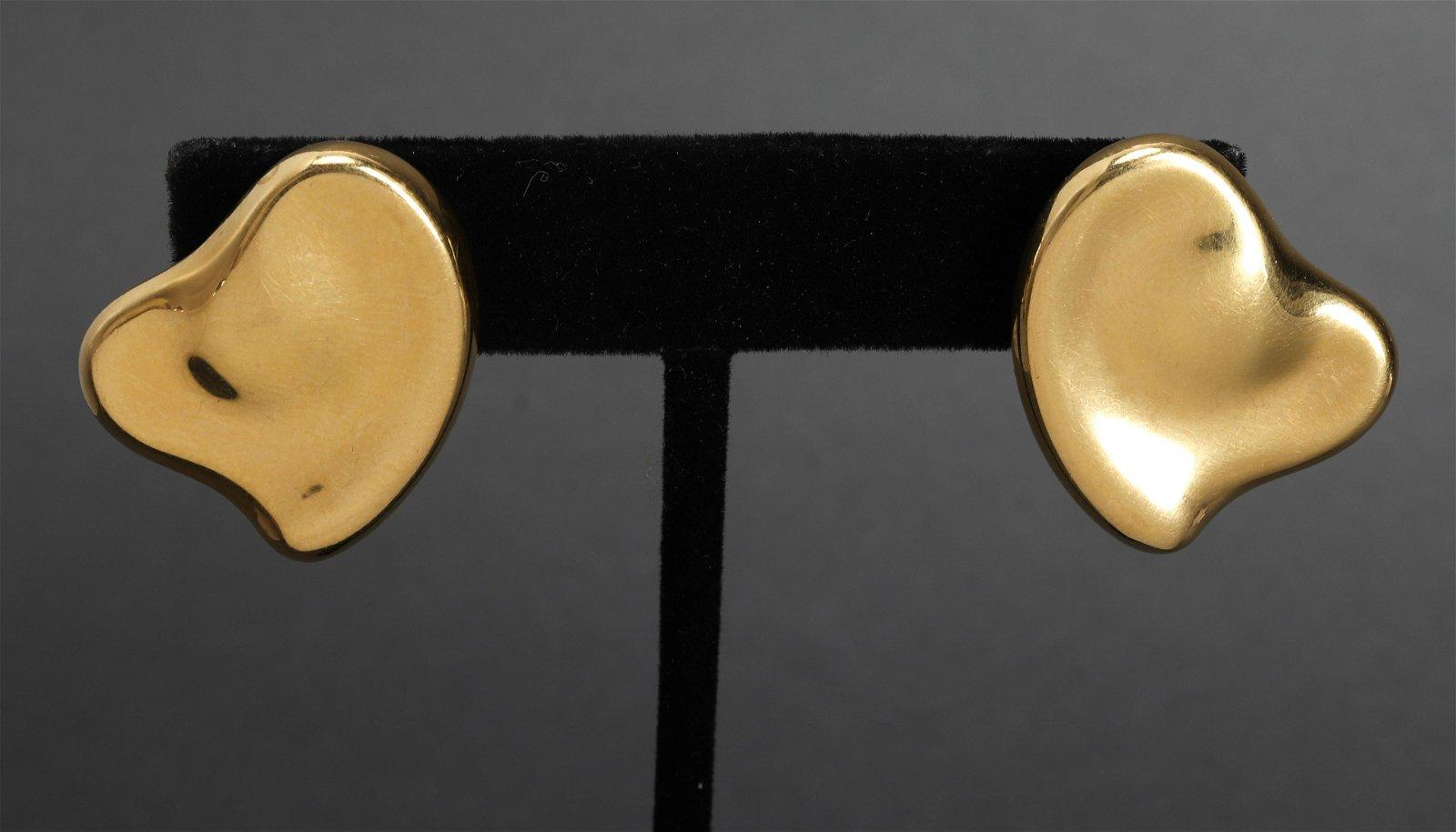 Tiffany & Co 18K Yellow Gold Heart Earrings
