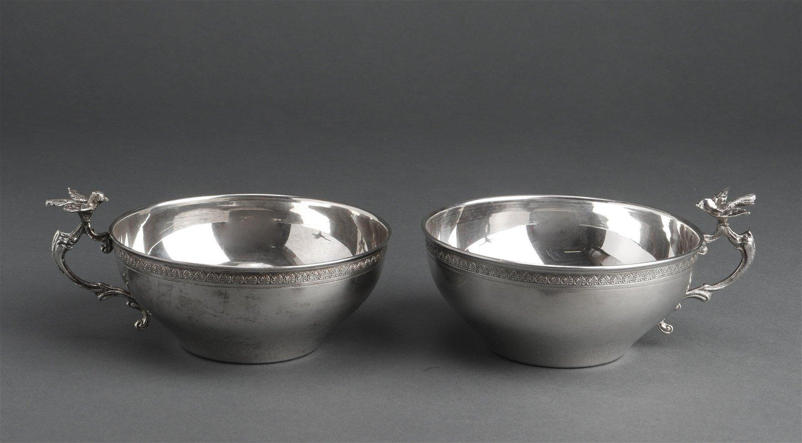 Continental Silver Bird Motif Cups, Pair