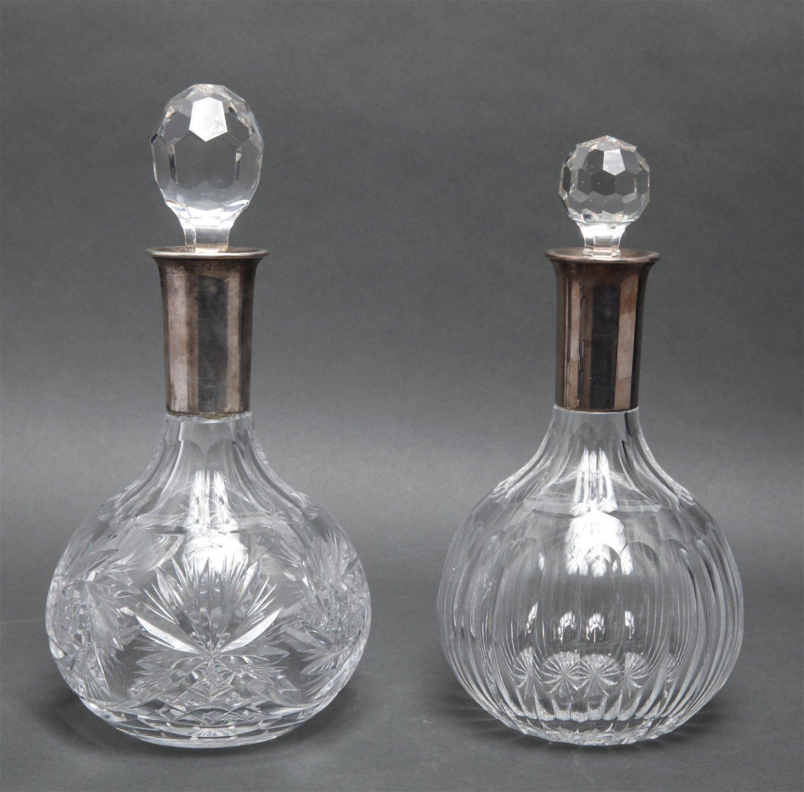 German Sterling Silver & Crystal Decanters, 2