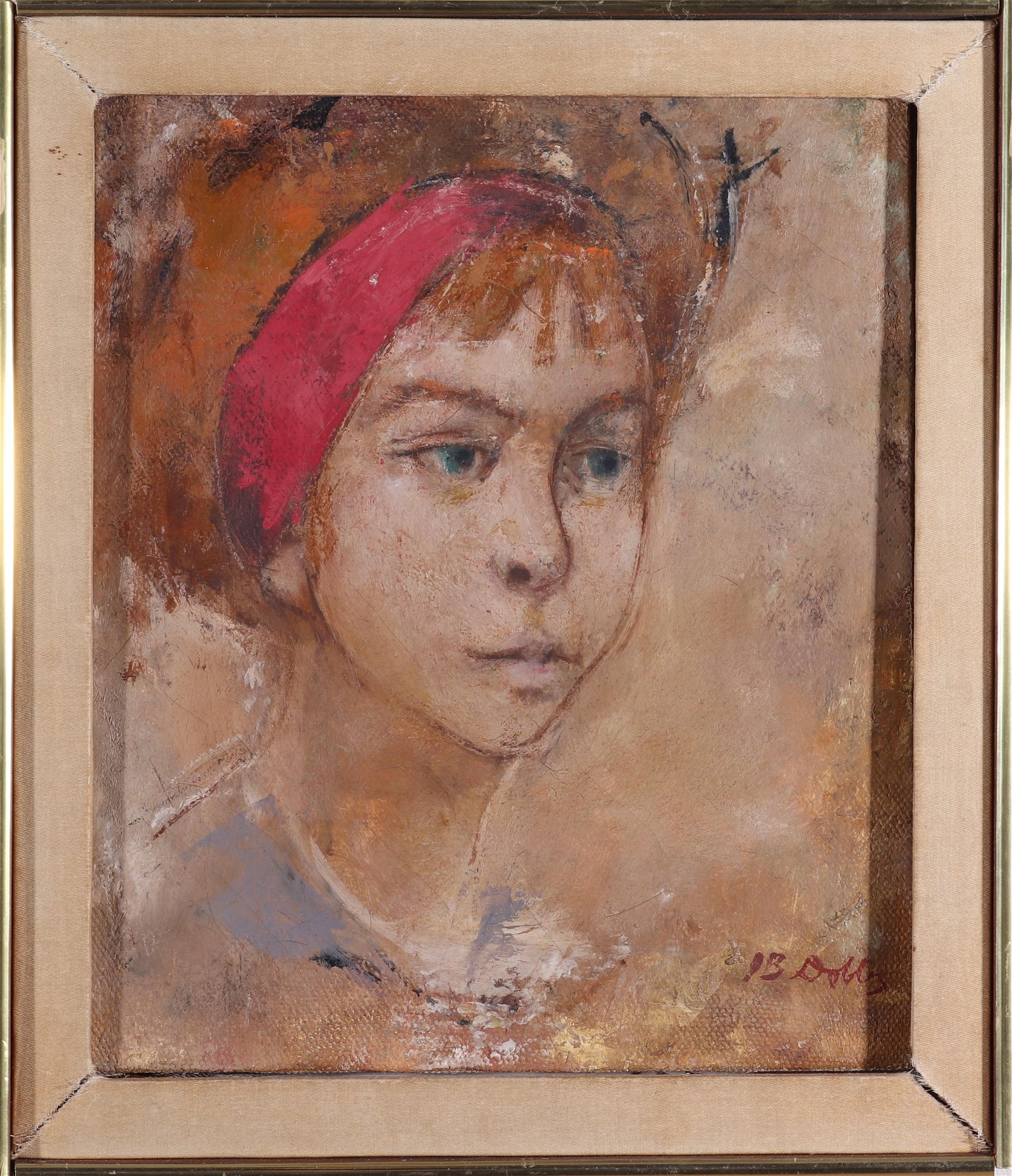 """Signed Dobbs """"Girl in Red Headband"""" Oil on Canvas"""