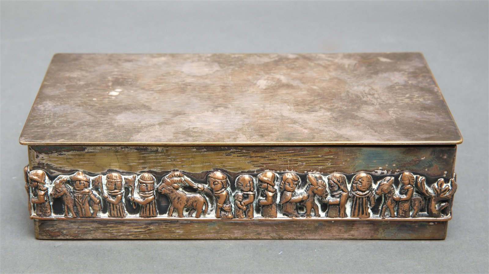 M. Tevan Hungarian Silver Plate Figural Fitted Box