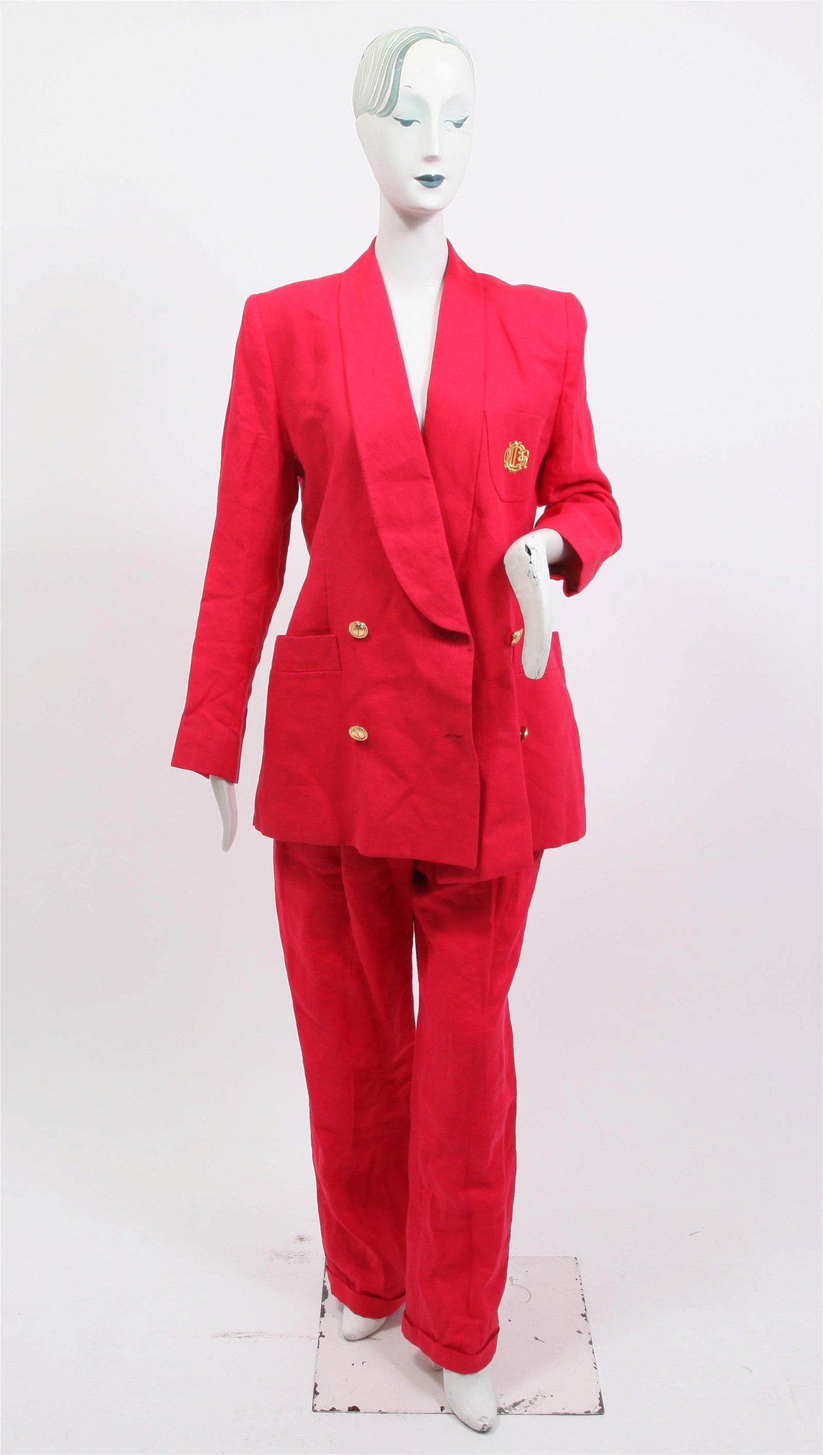 Christian Dior Vintage Red Linen Suit