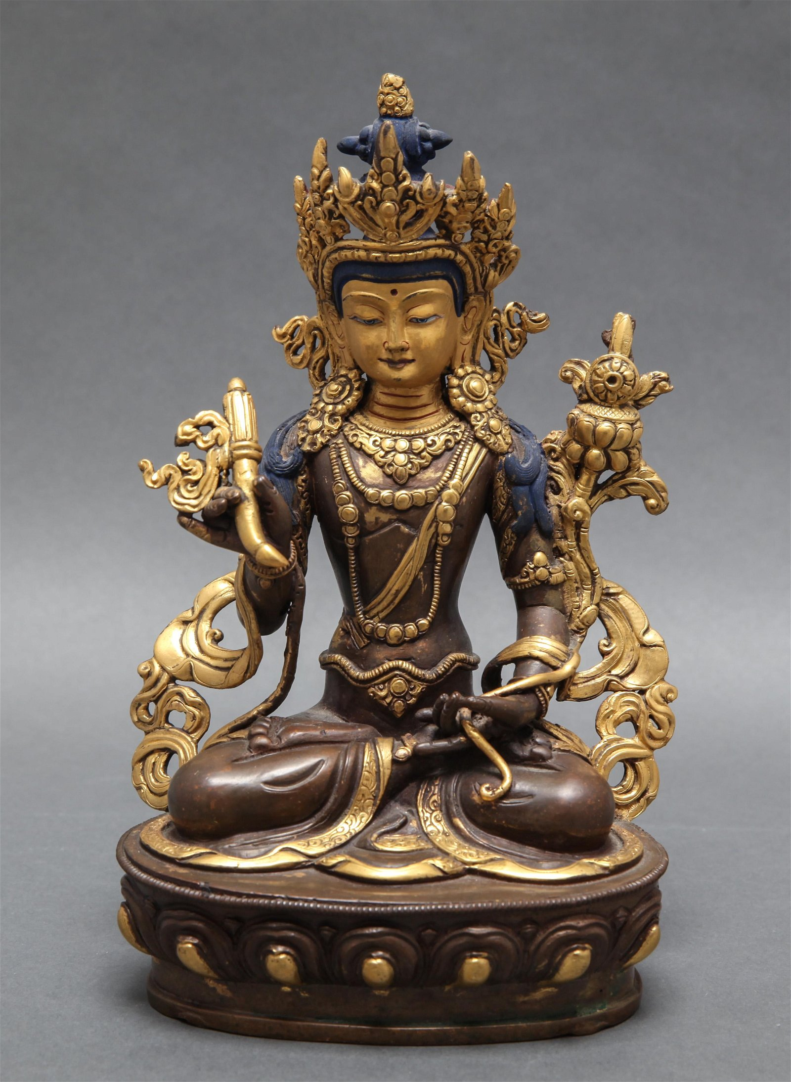 Painted & Gilt Bronze Seated Guanyin Figure
