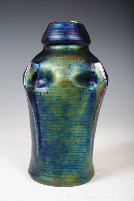 1026: Art Nouveau Pottery Vase marked Zsolnay