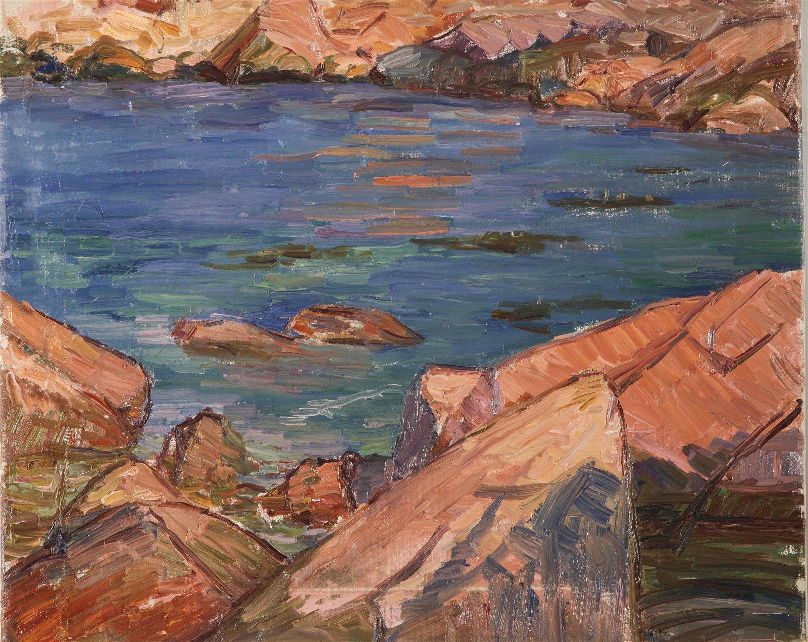 Agnes Richmond Rocky Coastal Oil on Canvas