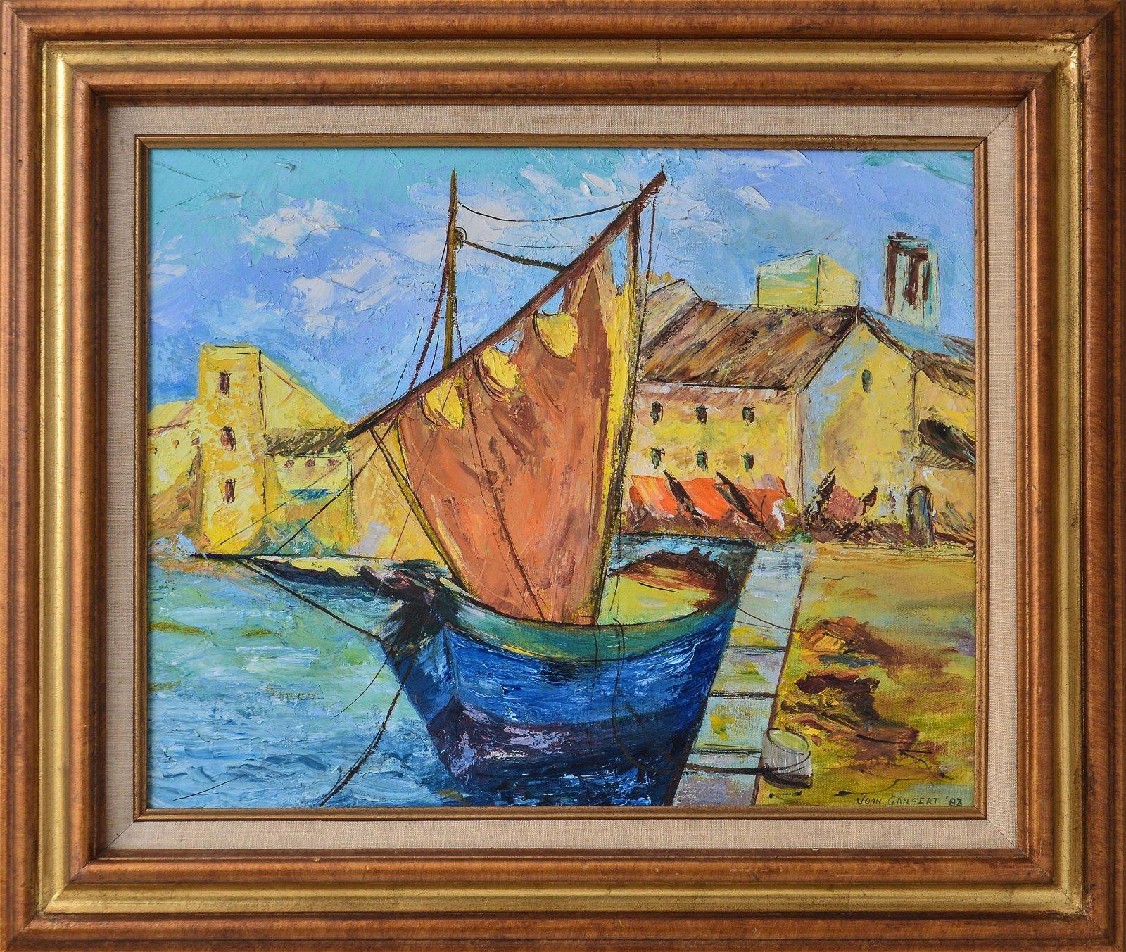 Joan Gansert Sailboat Modern Oil on Canvas