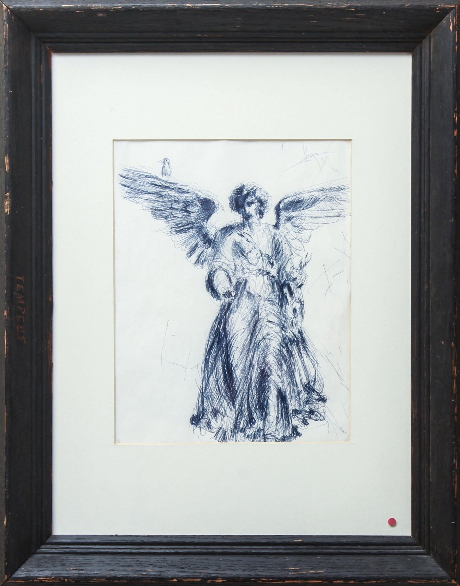 """Angel w Bird Bethesda Fountain NYC"" Ink Drawing"