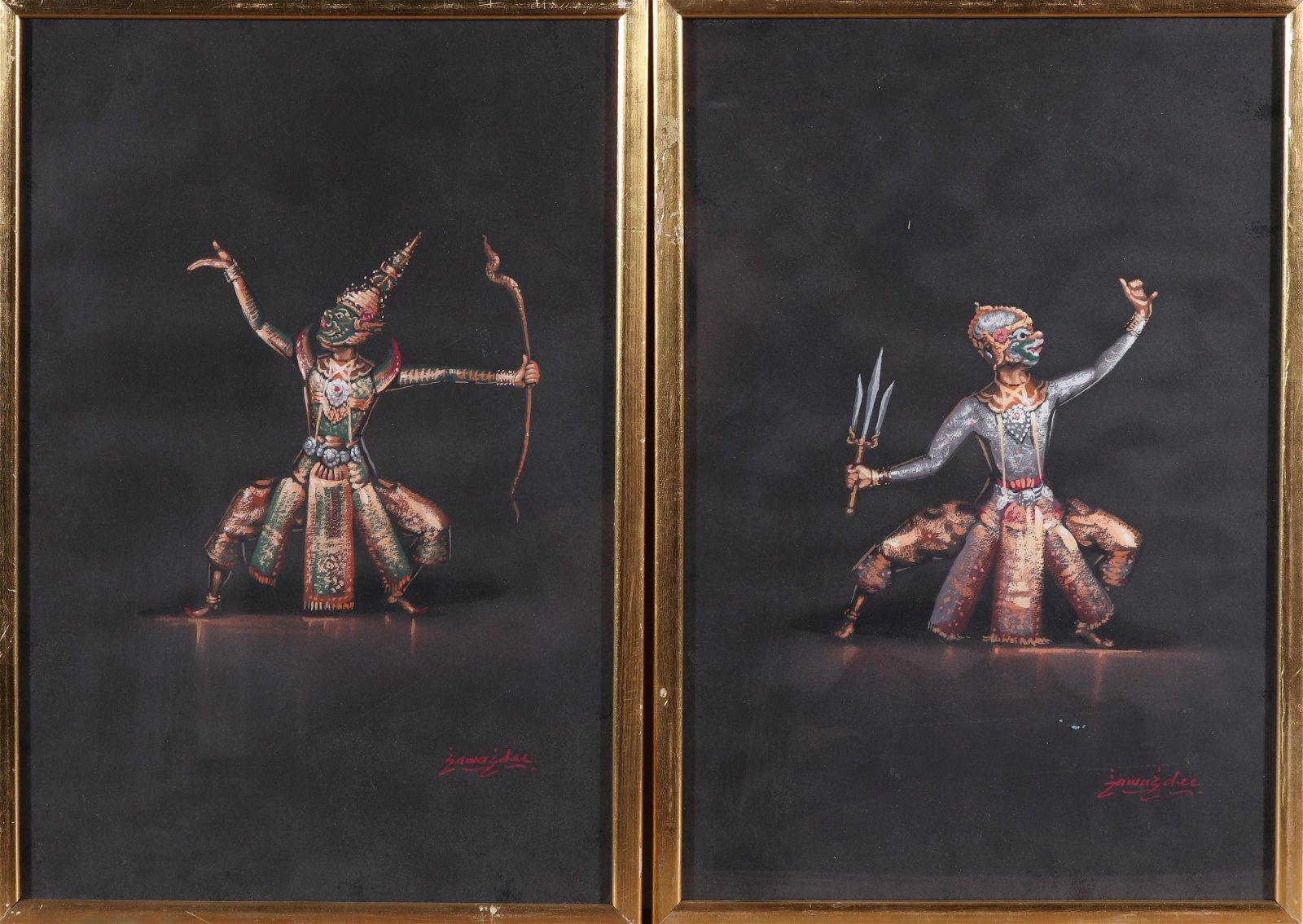 Signed Sawasdee, Thai-Dancers, Watercolor, Pair
