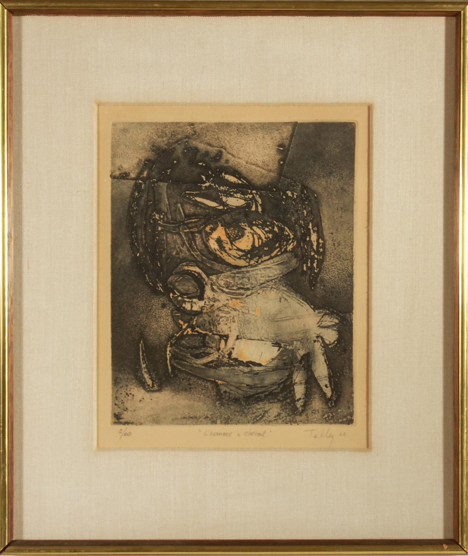 """Eugenio Tellez """"L'Homme a Cheval"""" Etching on Paper"""