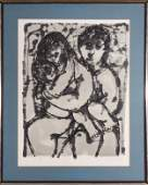 Yanni Posnakoff Blue Family Lithograph