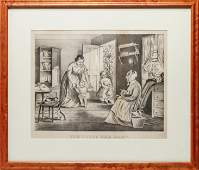 Currier  Ives BW Lithograph Tempting the Baby