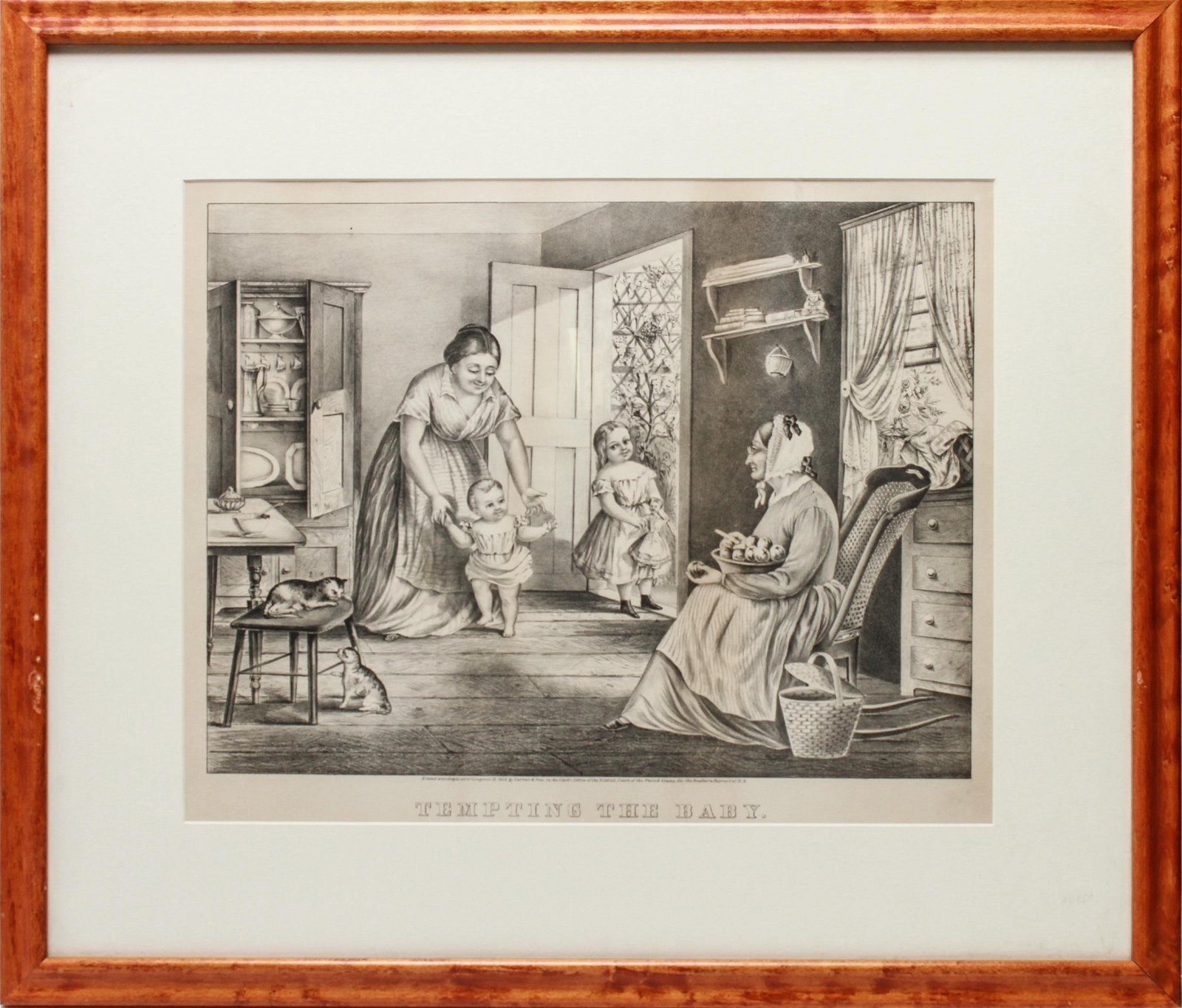 """Currier & Ives B/W Lithograph, """"Tempting the Baby"""""""