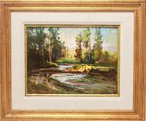 G Holland Signed Twilight River in Summer Oil