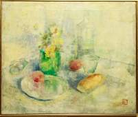 Stilllife Flowers Fruit  Bread Oil on Canvas