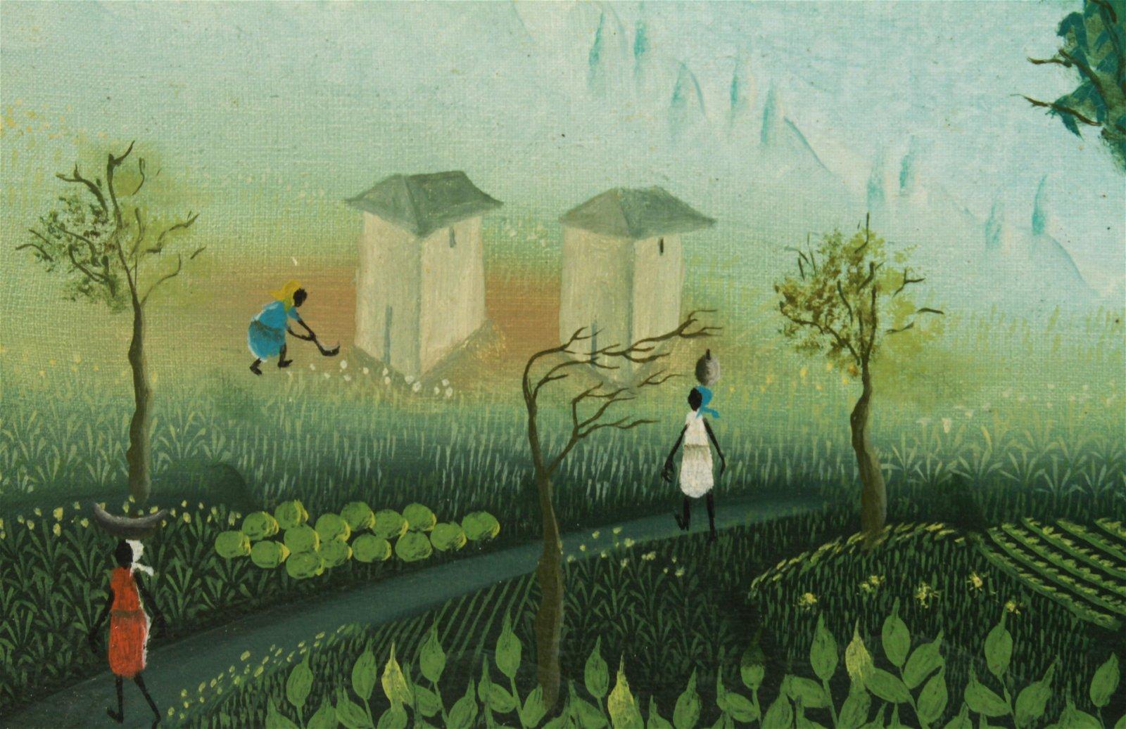Gesner Abelard Haitian Landscape with Figures Oil
