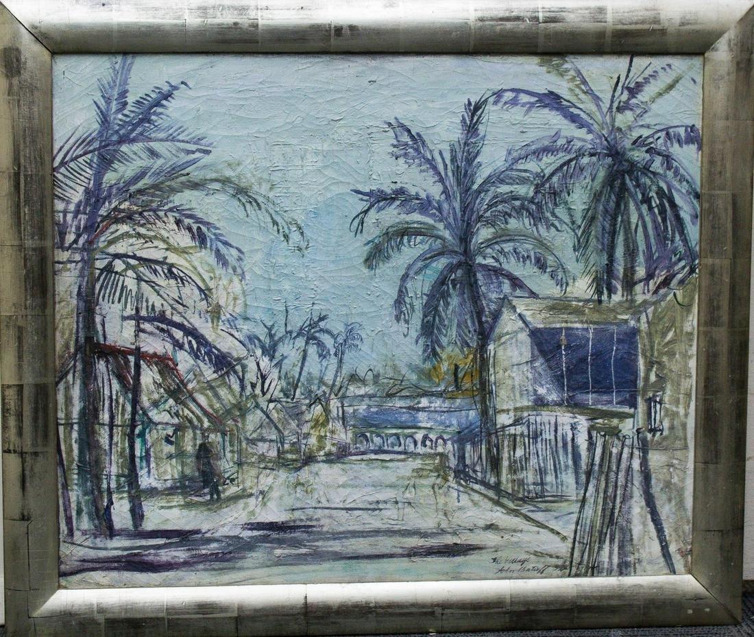 """John Batieff """"The Village"""" Oil on Canvas"""