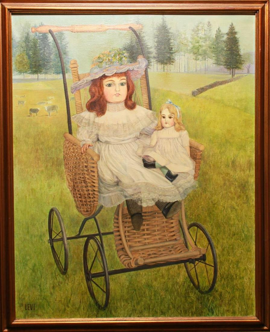"""Levi """"Girl w Doll In Wicker Carriage Oil on Canvas"""