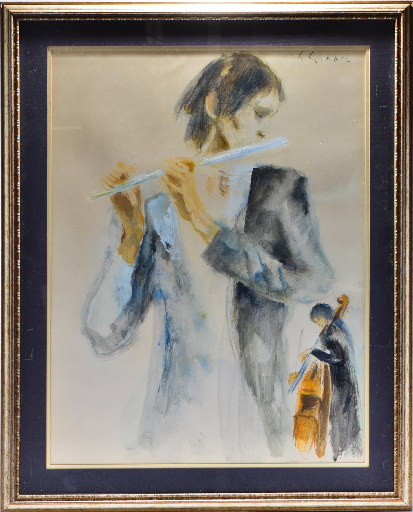 Jean Le Guennec Flautist Musician Acrylic / Paper