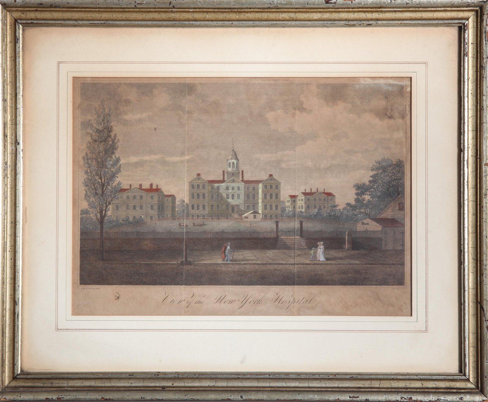 "John Murray ""View of New York Hospital"" Engraving"