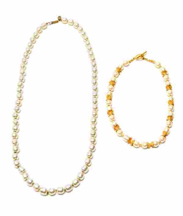 Miriam Haskell Faux Baroque Pearl Necklaces