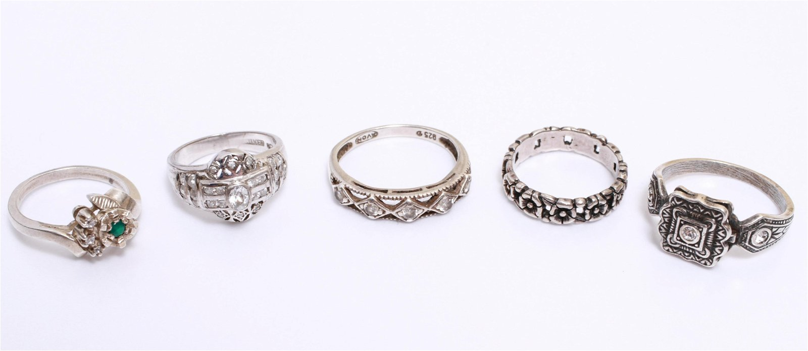 Silver Rings w an Emerald & Cubic Zirconias, 5