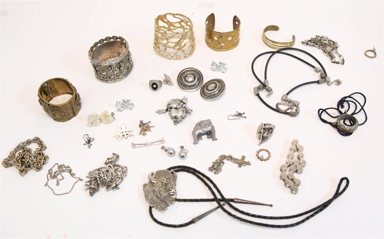 Mixed Metal Costume Jewelry, Group of 27
